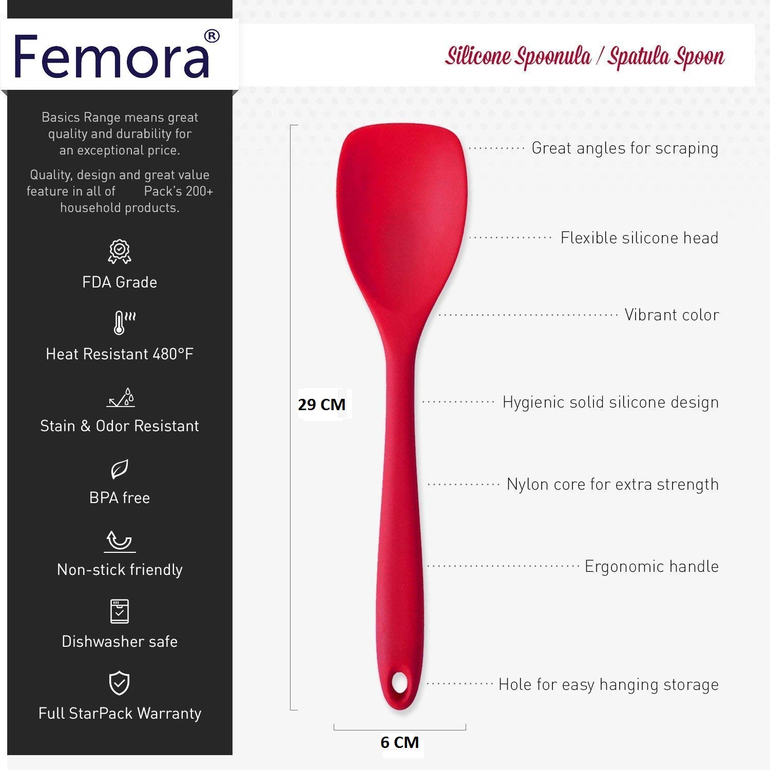 Femora Silicone Premium Egg Whisk, Laddle, Slotted Turner, Sppon with Grip Handle, Red, Set of 4, 1 Year Warranty