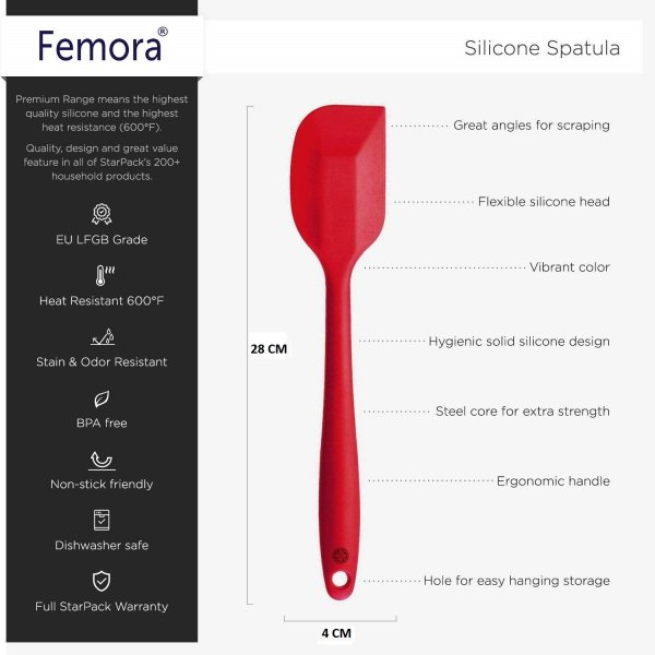 Femora Silicone Premium Big Spatula with Grip Handle, Red, 1 Year Warranty