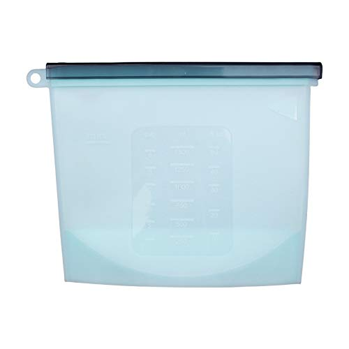 Femora Silicone Food Bag Reusable Seal Storage Container Silicone Food Preservation Bag Freezer Leak-Proof Cooking Ziplock Bags Blue 1500ml