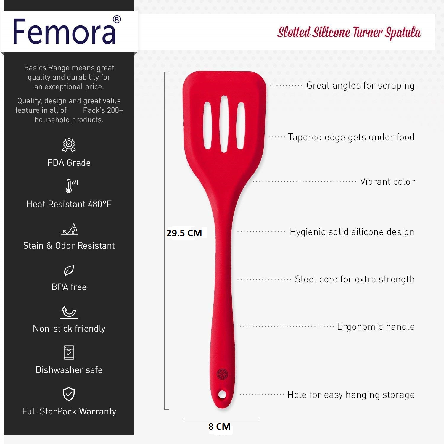 Femora Silicone Premium Slotted Turner with Grip Handle