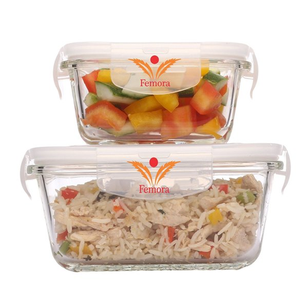 Femora Borosilicate Glass Square Container with Air Vent Lid  800 ML,300 ML Set of 2