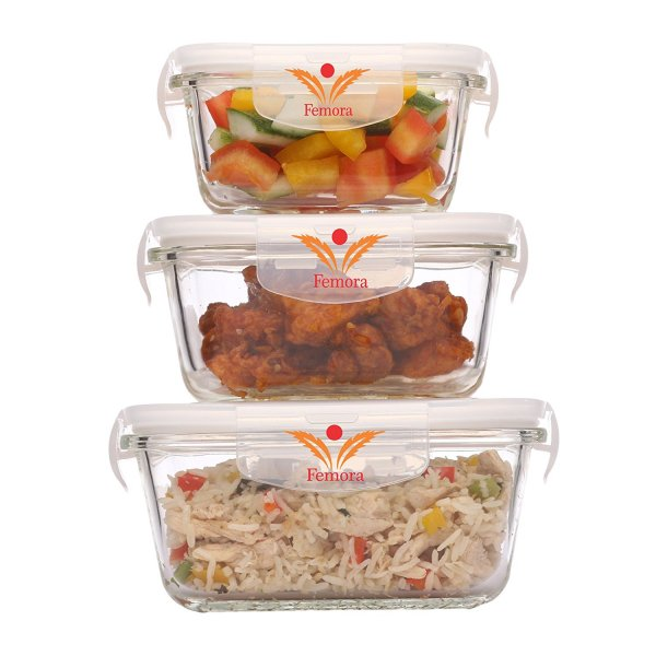 Femora Borosilicate Square Glass Container with Air Vent Lid 300ml, 500ml, 800ml Set of 3