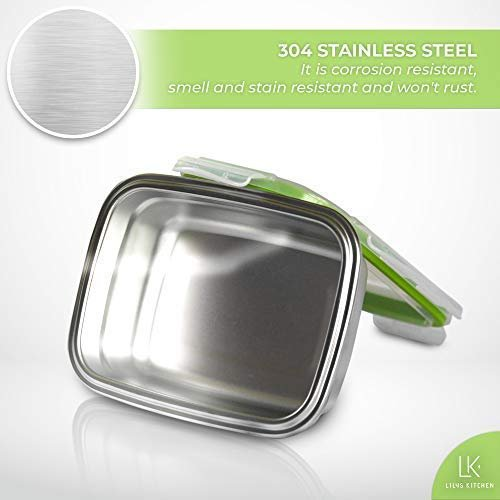 Femora High Steel Rectangle Container with Lock Lid for Kitchen, Storage, Lunch Box - 350ml Set of 2