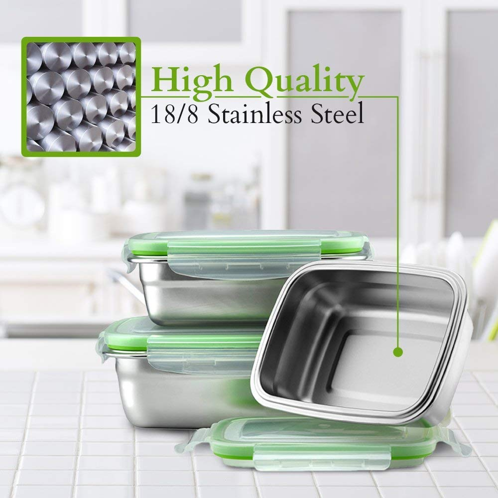 High Steel Rectangle Container with Lock Lid for Kitchen, Storage, Lunch Box - 350ml Set of 3