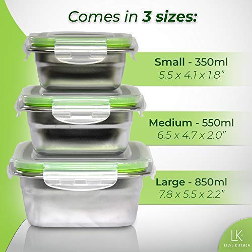 Femora High Steel Rectangle Container with Lock Lid for Kitchen, Storage, Lunch Box - 850ml Set of 2