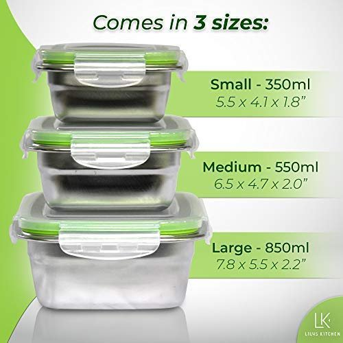 Femora High Steel Rectangle Container with Lock Lid for Kitchen, Storage, Lunch Box - 3800ml Set of 3