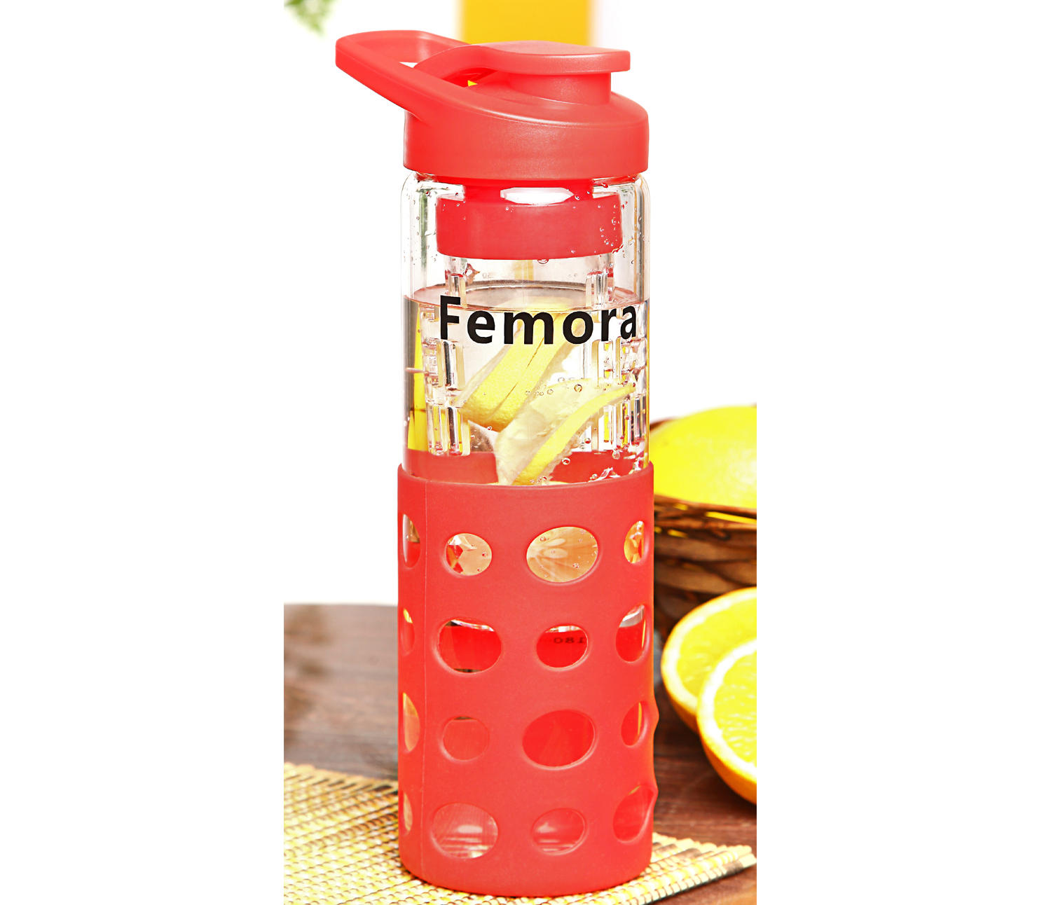 Femora Borosilicate Glass Bottle With Fruit Infuser - Red- 700ml