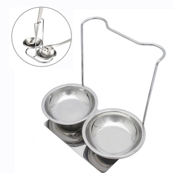 Femora Stainless Steel Laddle Holder Rest Laddle Stand for 2 Laddles - Cooking with Comfort