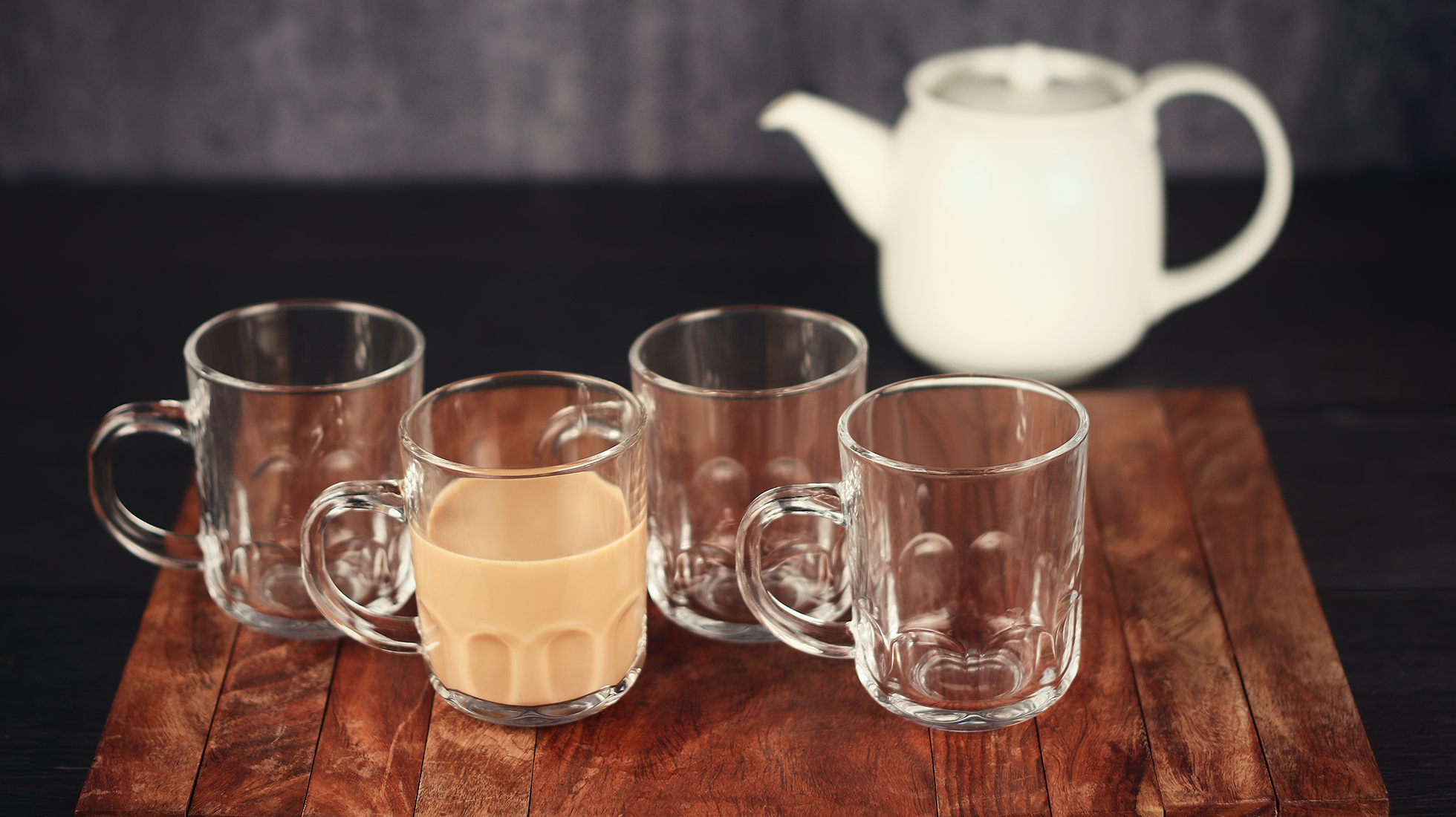 Femora Glass Crown Tea Mug Coffee Mug - Set of 4 - 210 ML