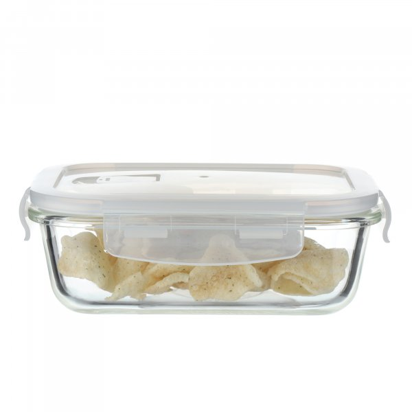 Borosilicate Rectangular Glass Food Storage Container with Air Vent Lid - 1000ml