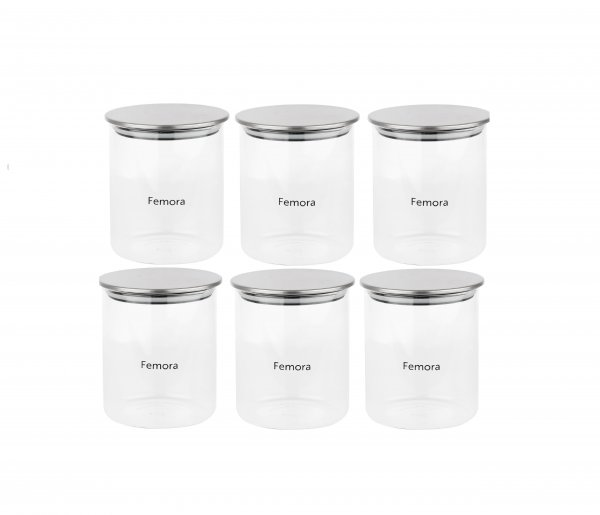 Femora Borosilicate Glass Air Tight Trend Jars with Golden Metalic Lid for Kitchen, 990ml Set of 6