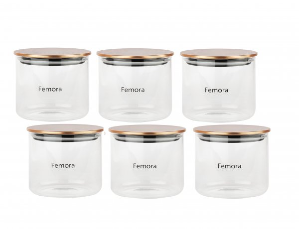 Femora Borosilicate Glass Air Tight Trend Jars with Golden Metalic Lid for Kitchen, 700ml Set of 6