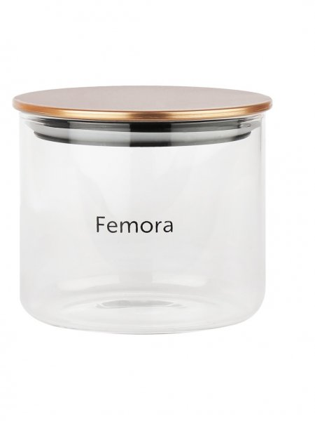 Femora Borosilicate Glass Air Tight Jars Golden Metallic Lid -700ml