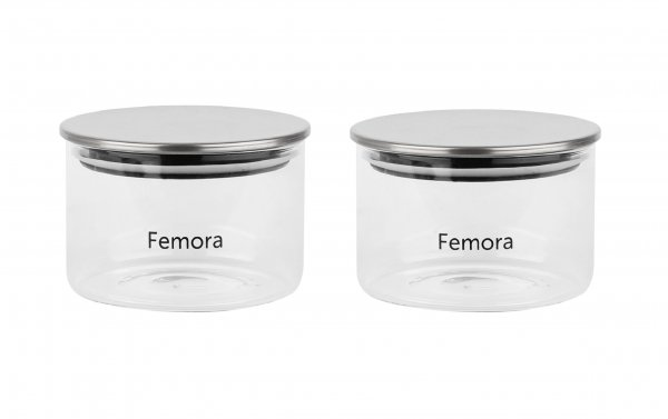 Femora Borosilicate Glass Air Tight Trend Jars with Silver Metalic Lid for Kitchen, 550ml Set of 2