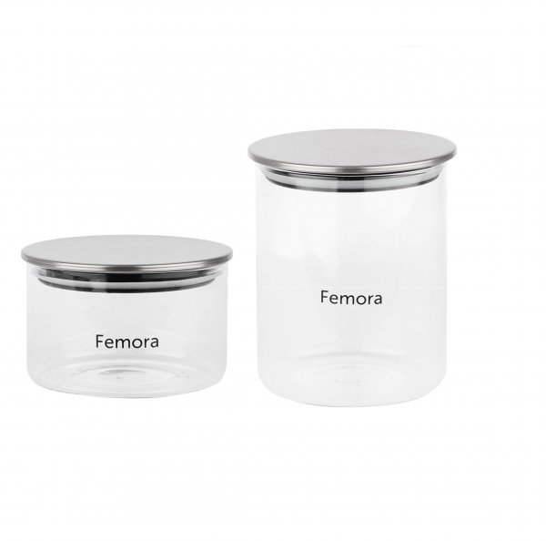 Femora Borosilicate Glass Air Tight Trend Jars with Silver Metalic Lid, 550ml 990ml