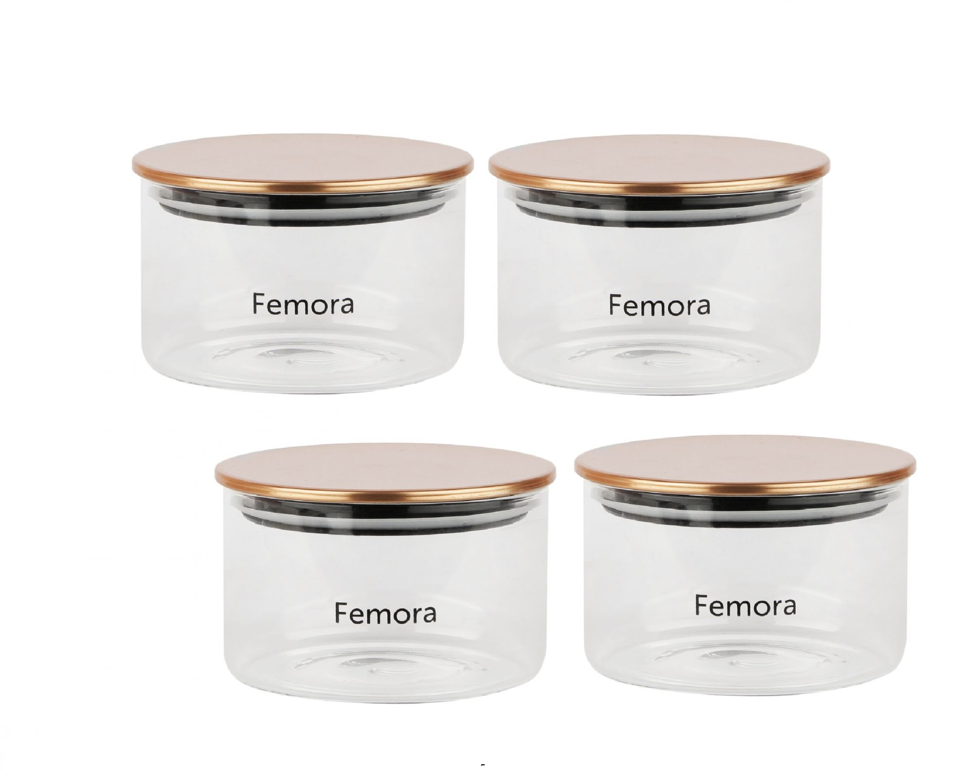 Femora Borosilicate Glass Air Tight Trend Jars with Golden Metalic Lid for Kitchen, 550ml Set of 4