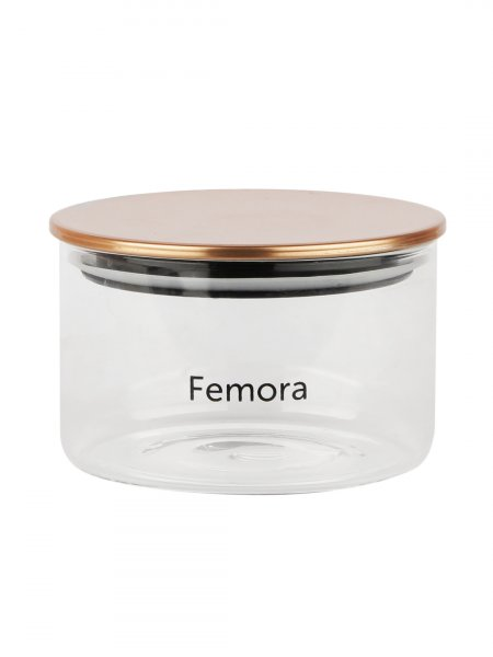 Femora Borosilicate Glass Air Tight Jars Golden Metallic Lid - 550ml