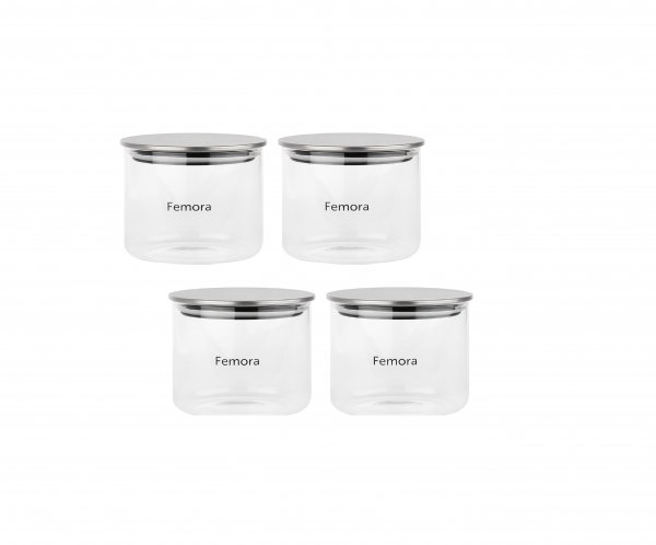 Femora Borosilicate Glass Air Tight Trend Jars with Silver Metalic Lid for Kitchen, 700ml Set of 4