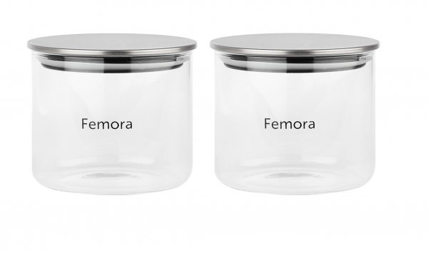 Femora Borosilicate Glass Air Tight Trend Jars with Silver Metalic Lid for Kitchen, 700ml Set of 2
