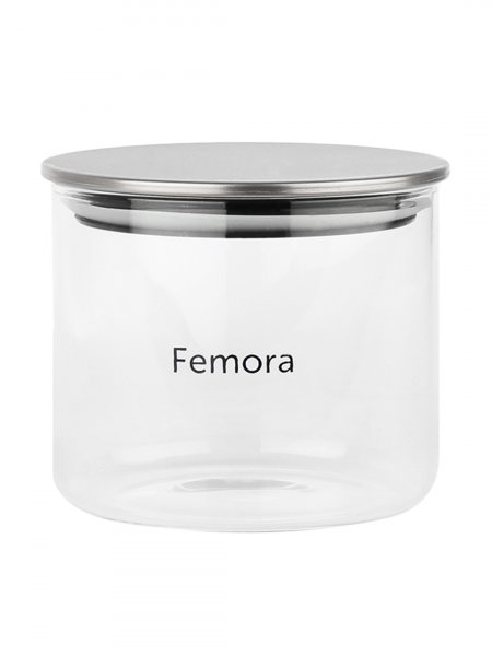 Femora Borosilicate Glass Air Tight Jars Silver Metallic Jar -700ml