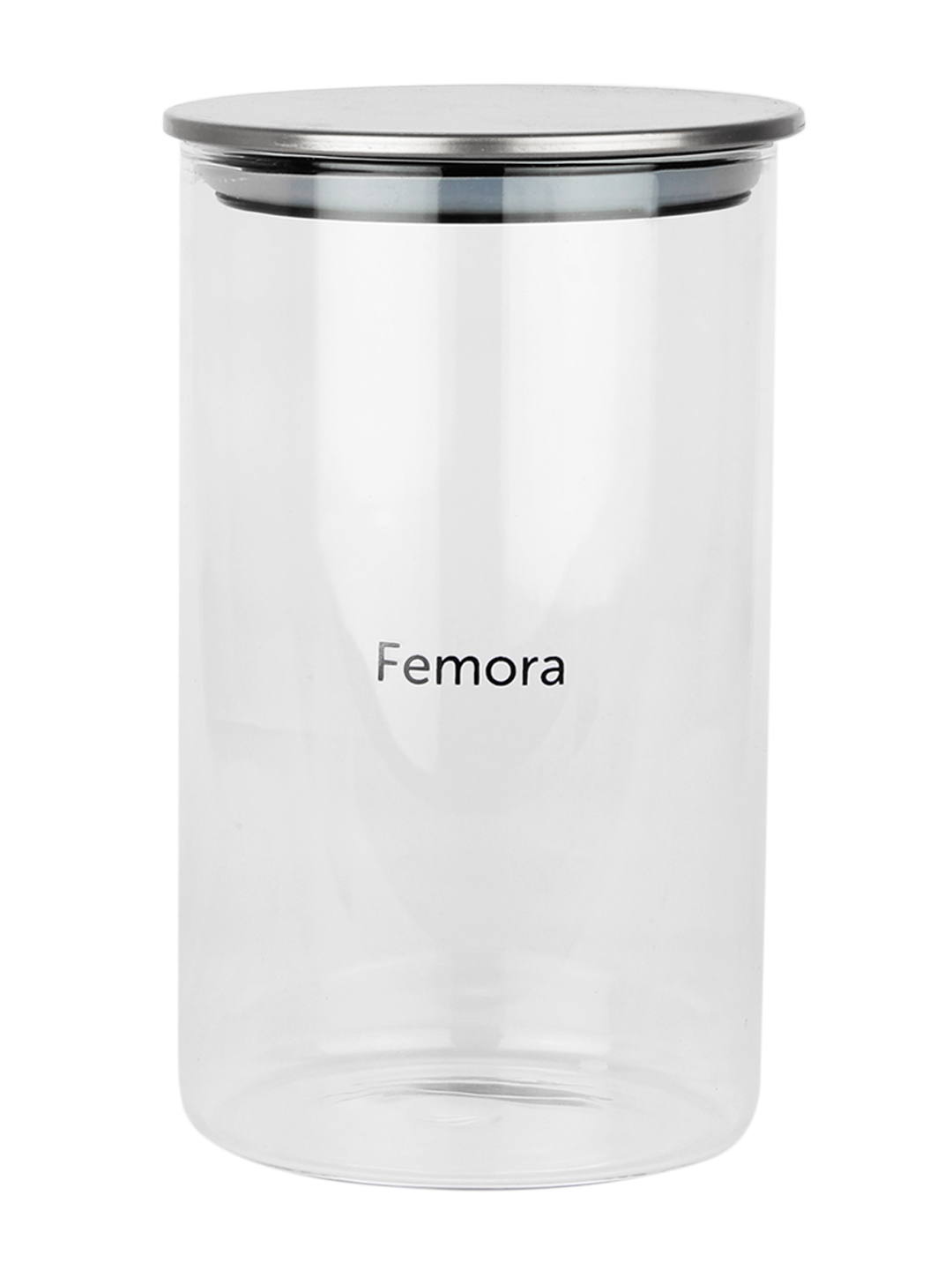 Femora Borosilicate Glass Air Tight Trend Jars with Silver Metalic Lid for Kitchen, 1300ml Set of 4