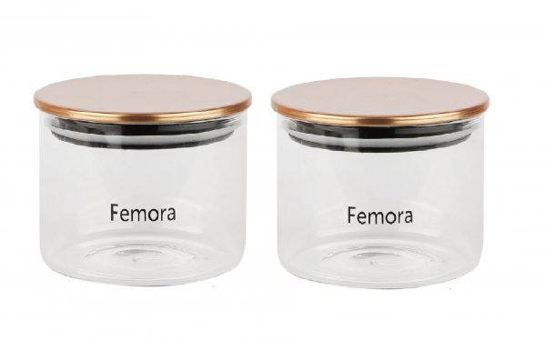 Femora Borosilicate Glass Air Tight Trend Jars with Golden Metalic Lid for Kitchen, 550ml Set of 2