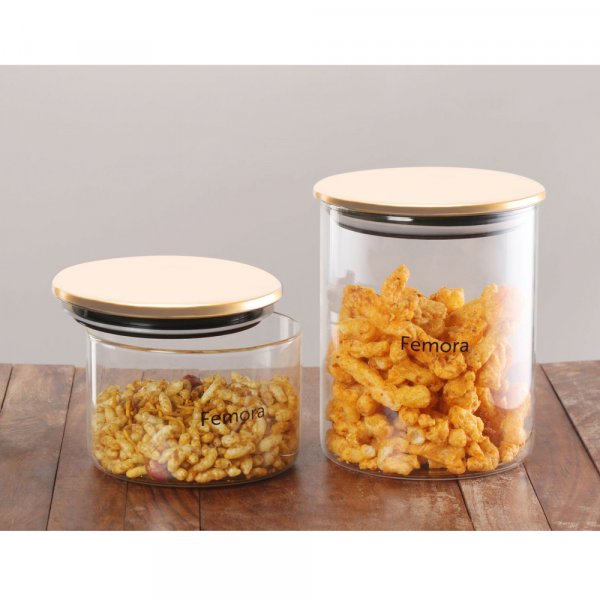 Femora Borosilicate Glass Air Tight Trend Jars with Golden Metalic Lid, 550ml 990ml