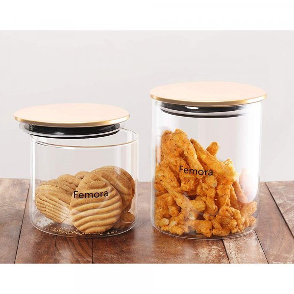Femora Borosilicate Glass Air Tight Trend Jars with Golden Metalic Lid, 700ml 990ml