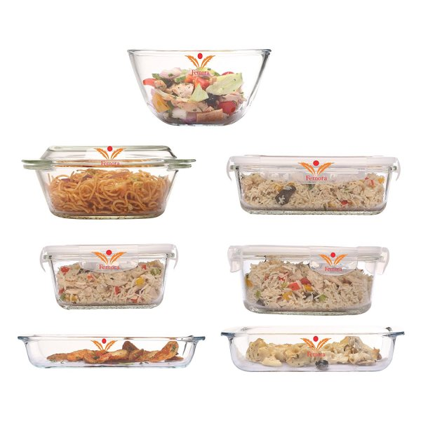Femora Microwave Borosilicate Glass Premium Kitchen Set (Large)