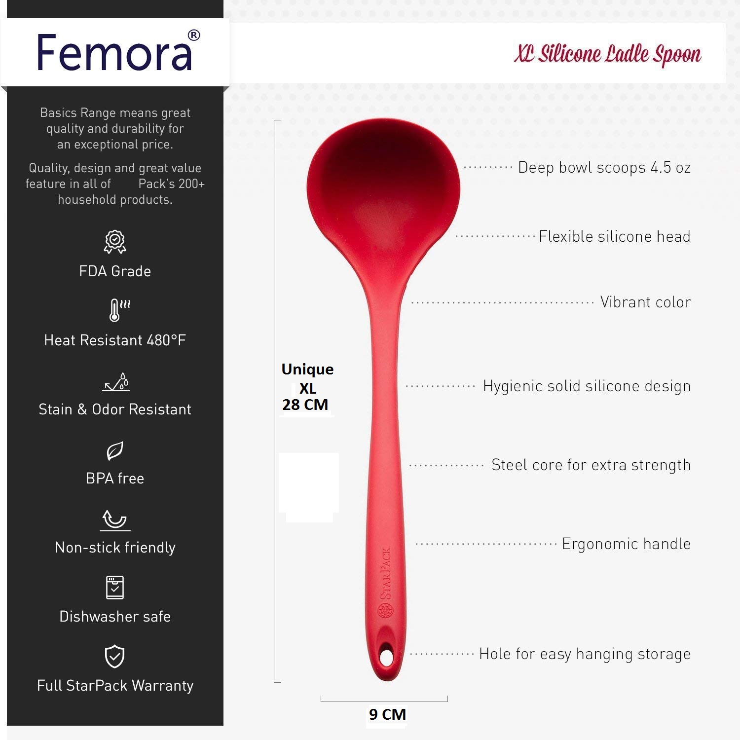 Silicone Premium Ladle with Grip Handle