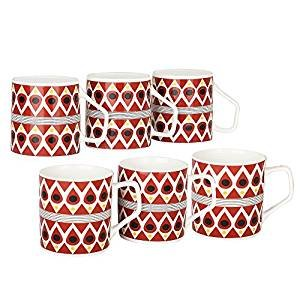 Femora Bone China Classical Red Microwave Safe Tea Cup, Set of 6, 185 ml