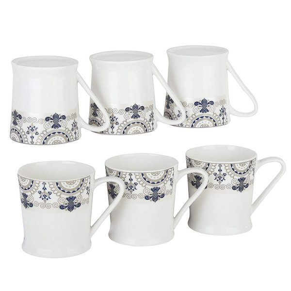 Femora Bone China Blue Floral Border Microwave Safe Tea Mug Set , 185 ml