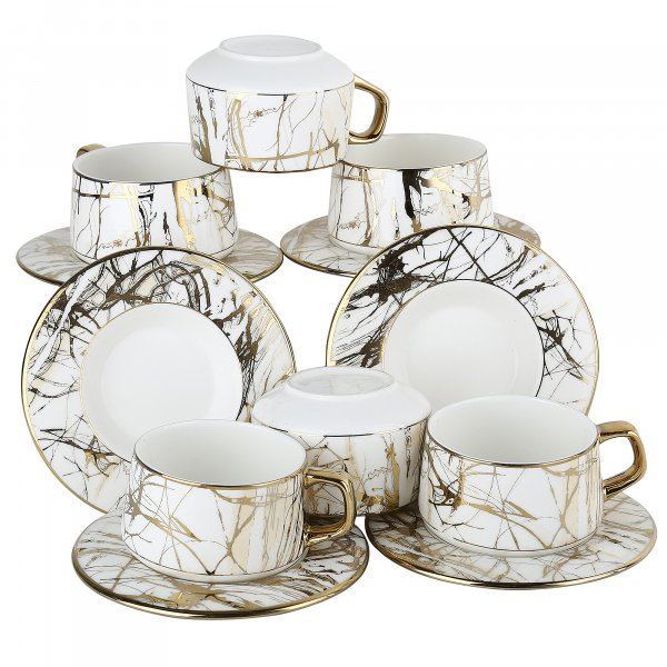 Bone China Fine Rich Gold County Cottage Cups with Saucer, 205ml
