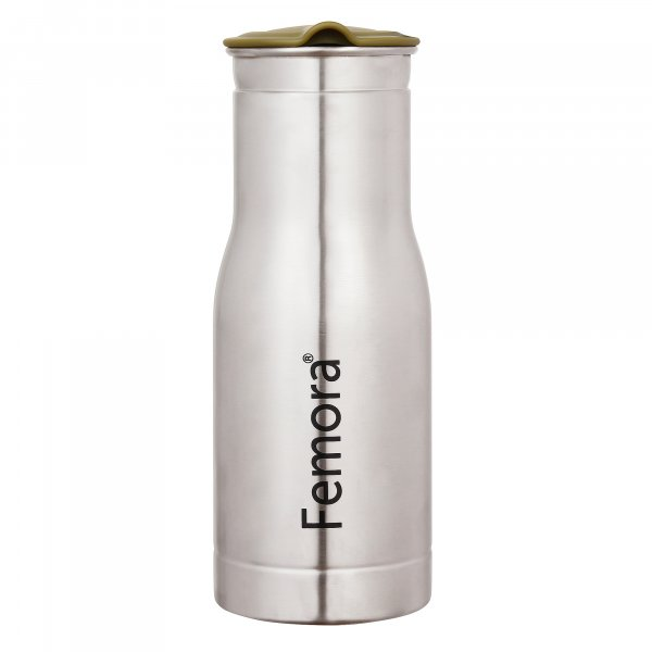 Stainless Steel Duro Jug with  lemon green Lid - 1 L