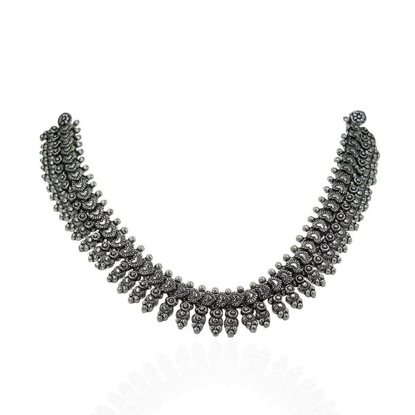 Femora Traditional Oxidised Silver Strand Necklace Jewelry For Women/Girls