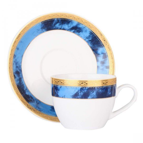 Ceramic Royal Blue Border Gold Drop Cups & Saucers - 200ML