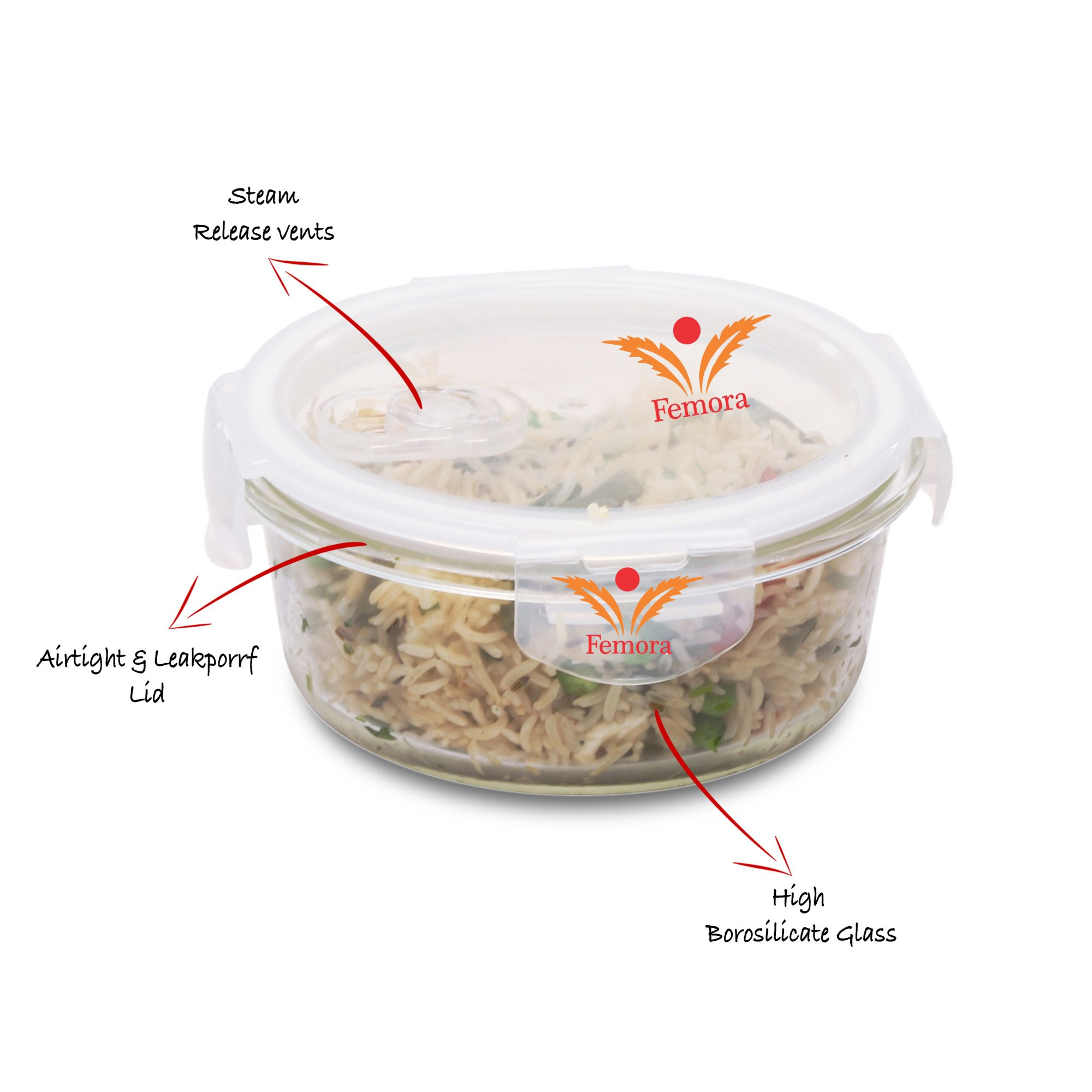 Femora Borosilicate Lunch Box Round Containers ,380 ml,Set of 2