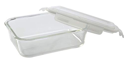 Femora Borosilicate Glass Rectangle Container Olive Black Lunch Box , 400 ML, 620ML, Set of 2, 1 Year Warranty