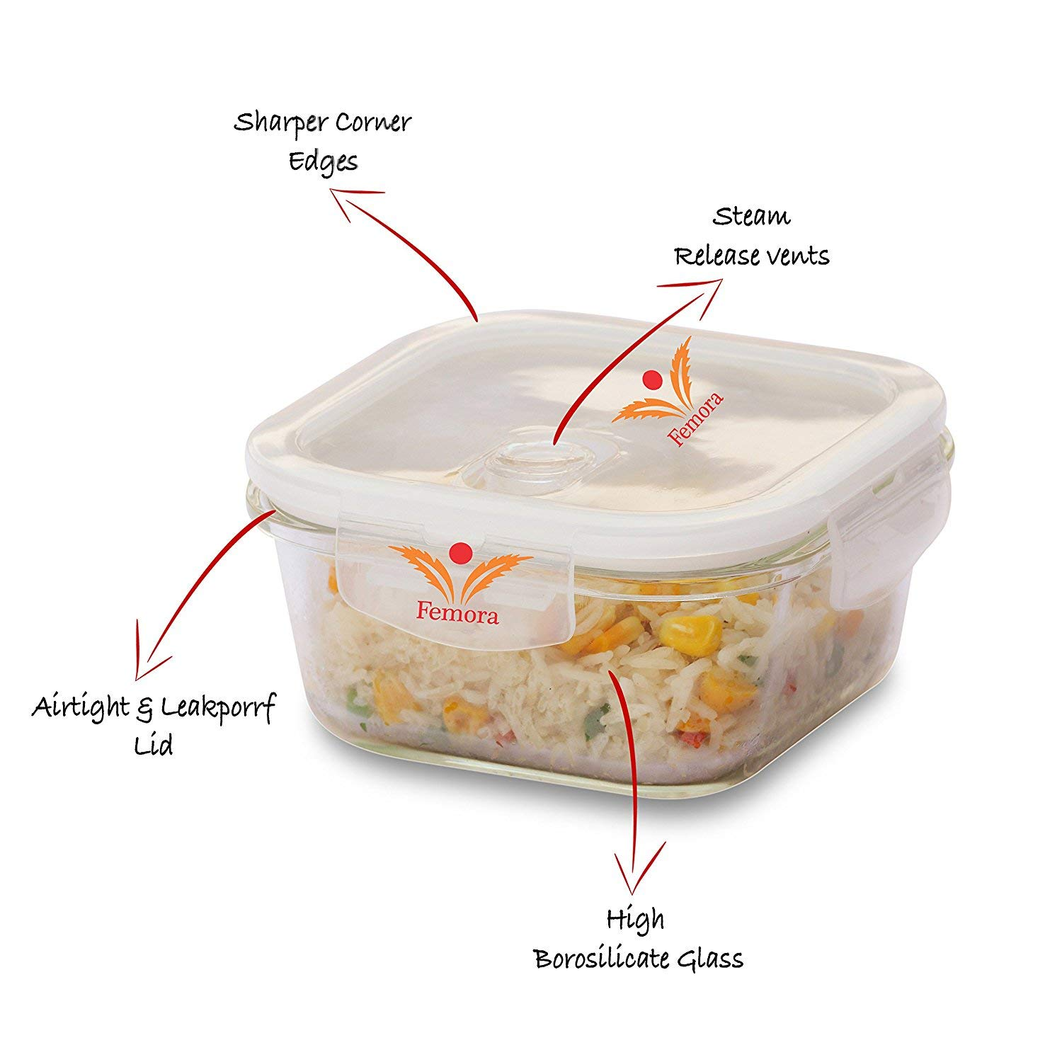Femora Borosilicate Glass Round Container Beige Black Canvas Lunch Box-380 ML X2, Set of 2, 1 Year Warranty