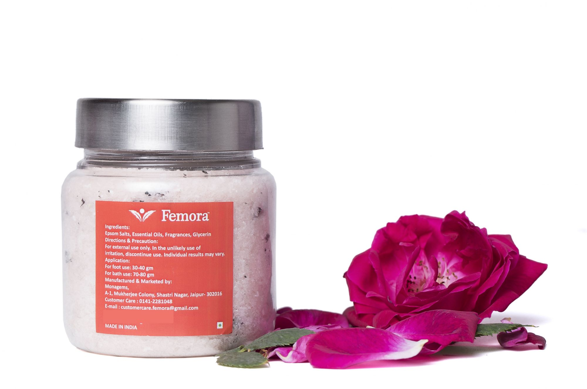 Femora Natural Rose Flavored Bathing Epsom Salt - 250 gms