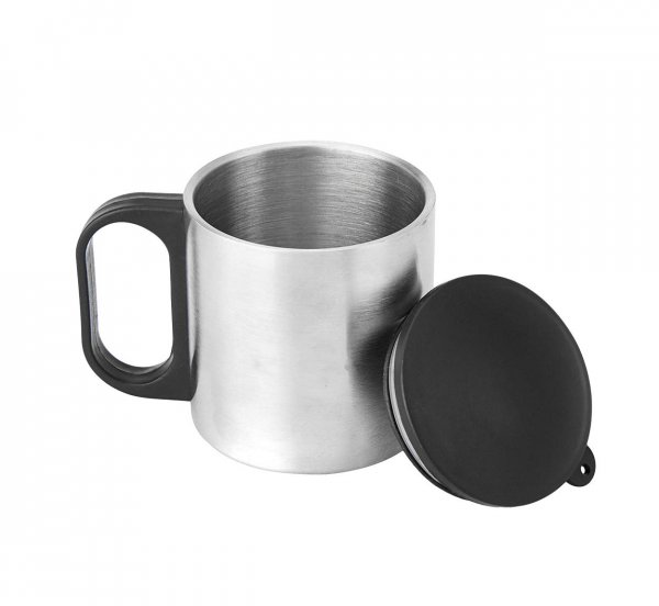 Femora Carbonate Thermo Steel Double Wall Steel Tea Cup Coffee Mug with PP Handle & Lid - 190 ML