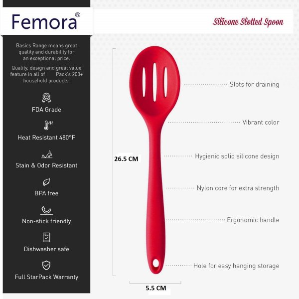 Femora Silicone Premium Slotted Spoon with Grip Handle, Red, 1 Year Warranty