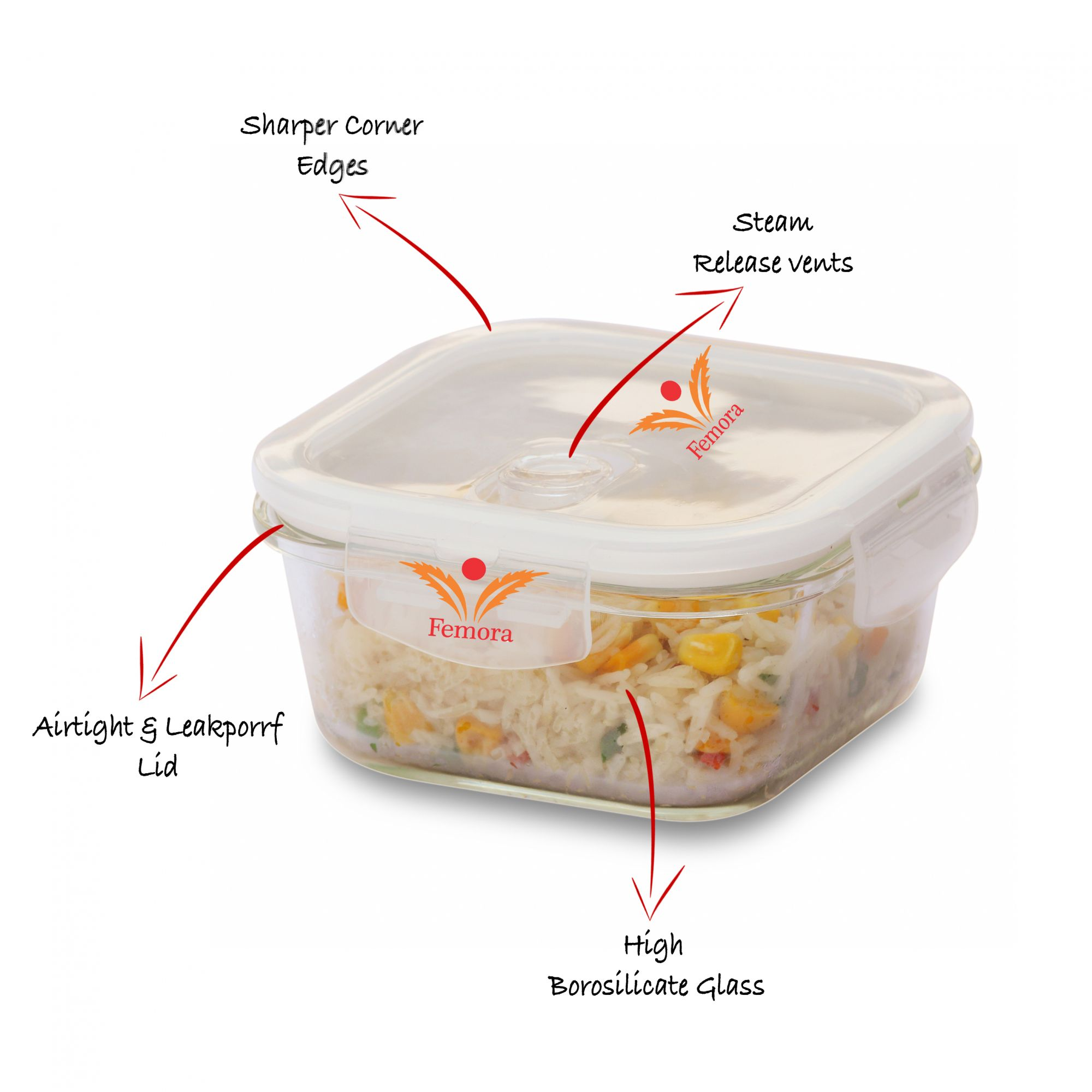 Femora Borosilicate Lunch Box Square Container 300 ml and Round Containers 380 ml,Set of 3