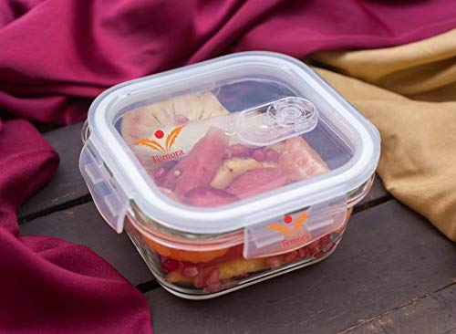 Borosilicate Glass Square Container Camel Black Lunch Box, 300 ML X 3, Bottle- 500 ML, Set of 4