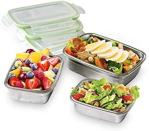 Femora High Steel Rectangle Container with Lock Lid Lunch Box for office, Storage, Lunch Box - 550ml Set of 3