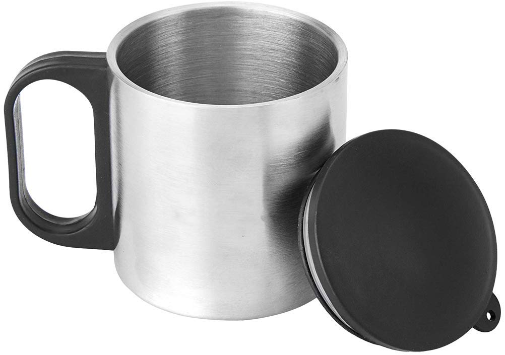 Femora Carbonate Thermo Steel Double Wall Steel Tea Cup Coffee Mug with PP Handle & Lid - 190 ML - Set of 2pcs