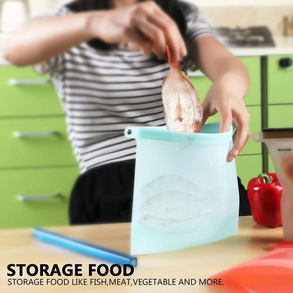 Femora Silicone Food Bag Reusable Airtight Seal Storage Container Freezer Leak-Proof Cooking Ziploc Bags - Blue- 1500ML (Set of2)