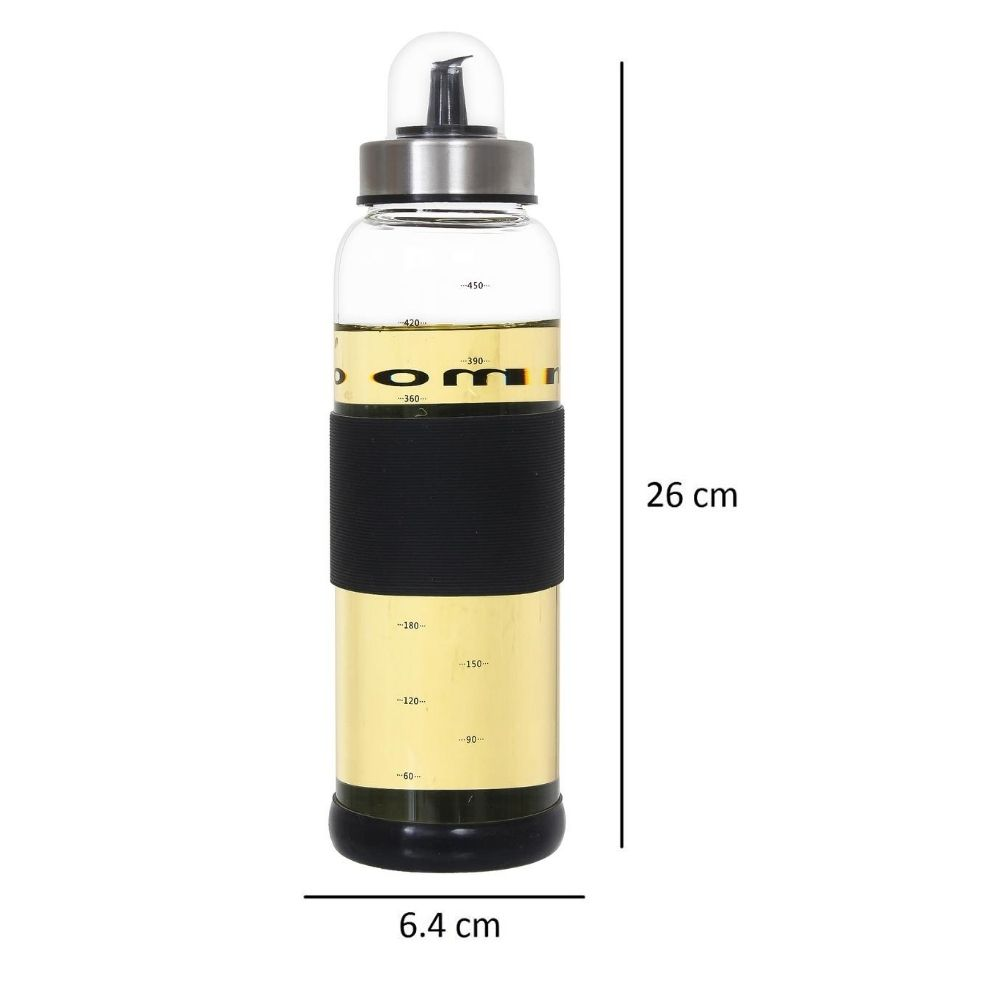Borosilicate Glass Oil Bottle Jar Dispenser - 500ml