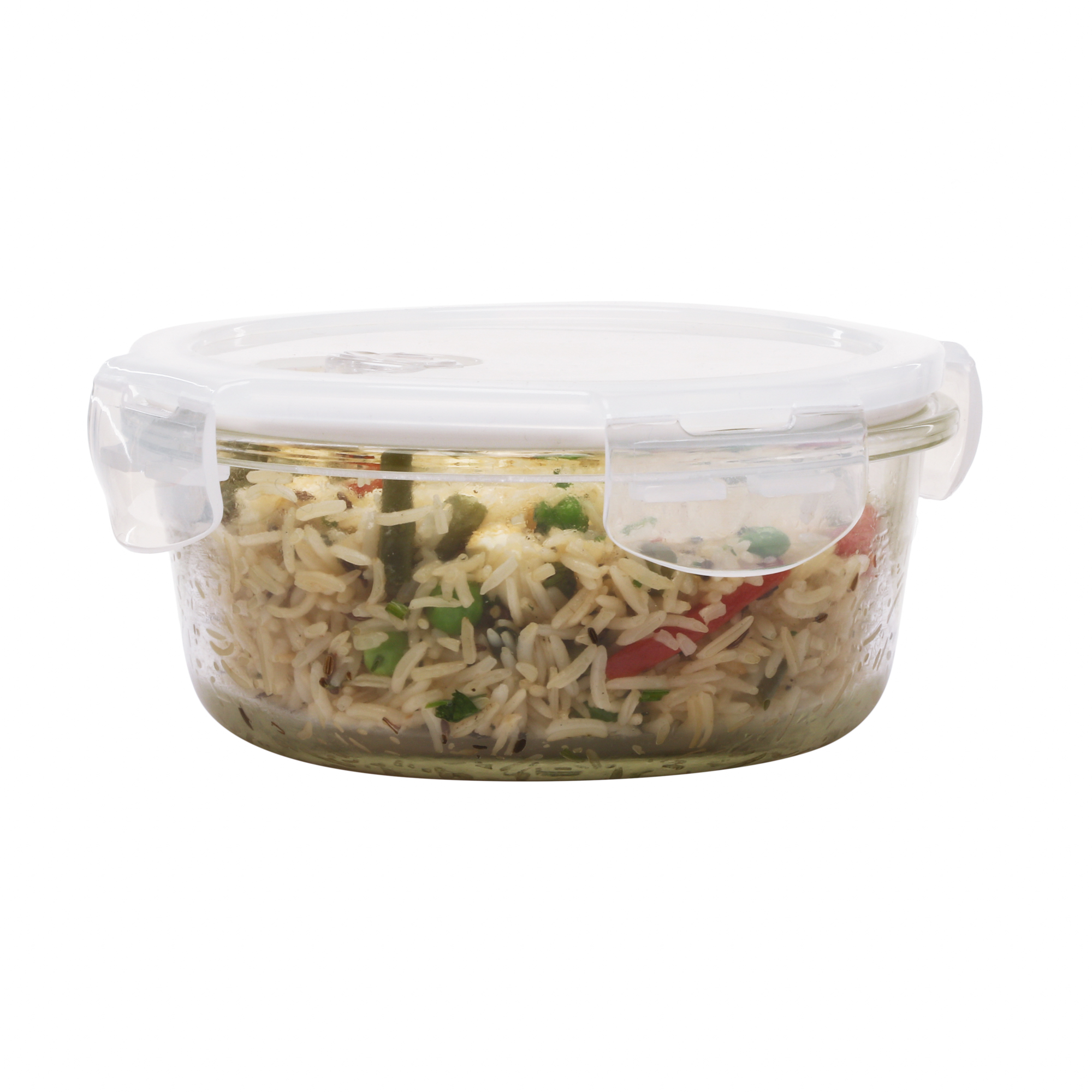 Borosilicate Glass Round Container with Air Vent Lid, 580 ML