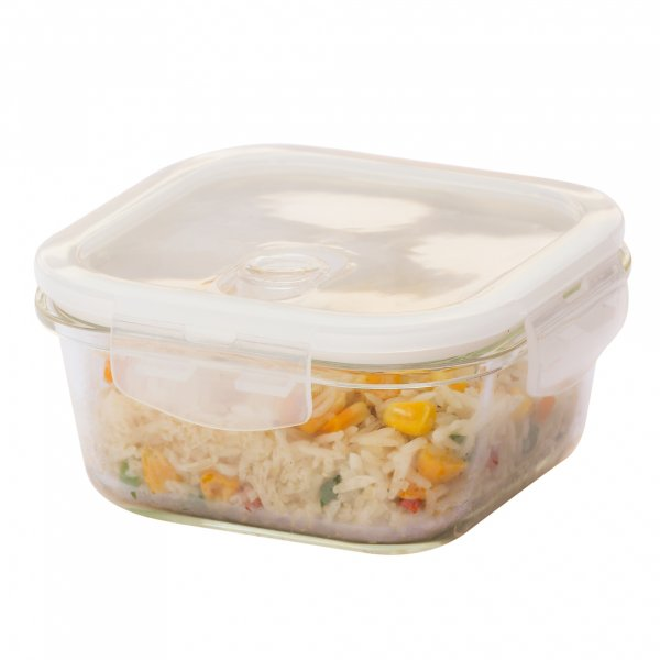 Femora Borosilicate Glass Square Container with Air Vent Lid 300 ML
